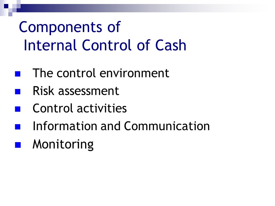 Components of Internal Control of Cash