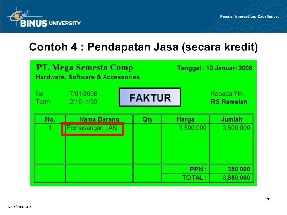 Contoh 4 : Pendapatan Jasa (secara kredit)