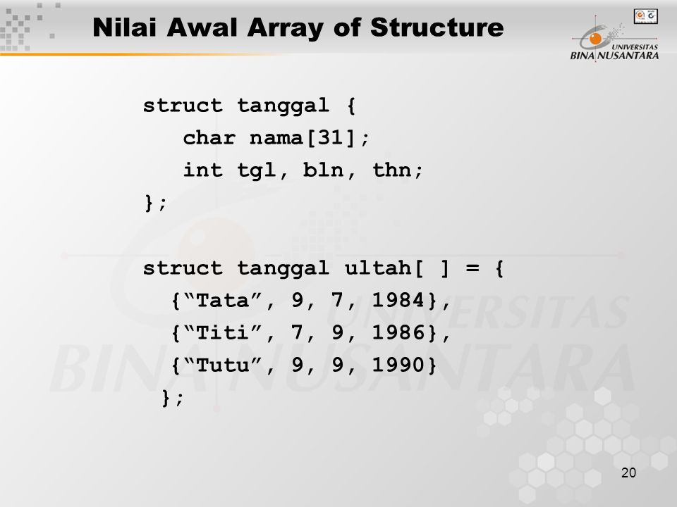 Nilai Awal Array of Structure