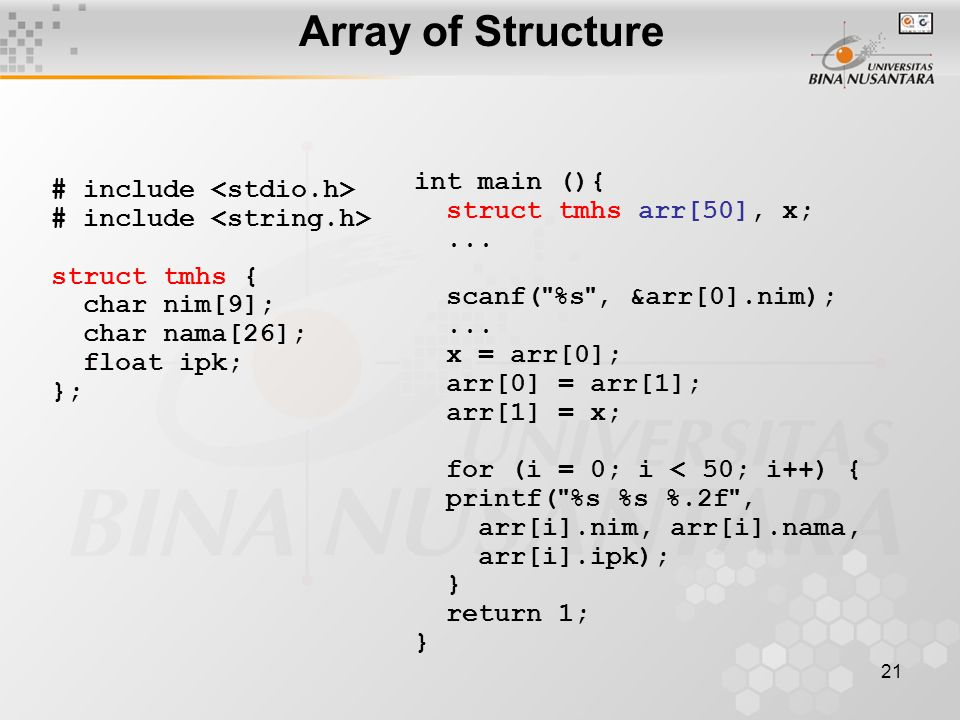 Array of Structure int main (){ # include <stdio.h>
