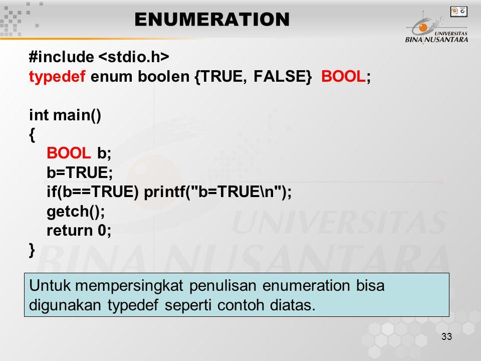 ENUMERATION #include <stdio.h>