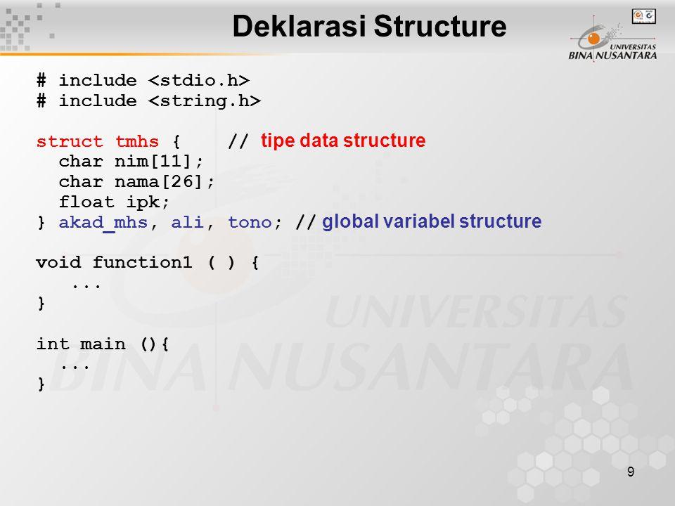 Deklarasi Structure # include <stdio.h>
