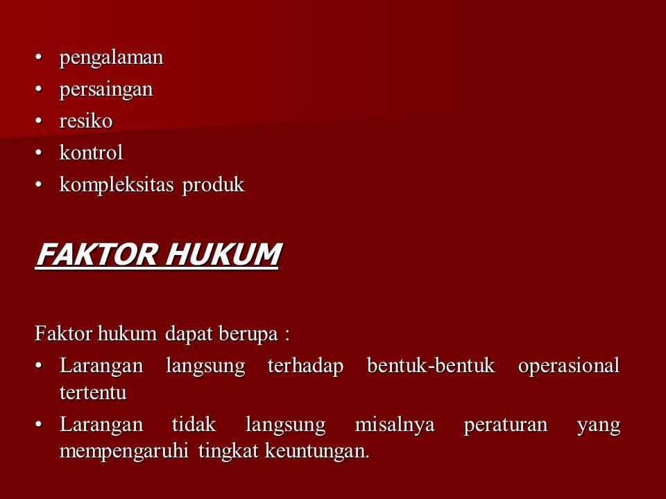 FAKTOR HUKUM • pengalaman • persaingan • resiko • kontrol