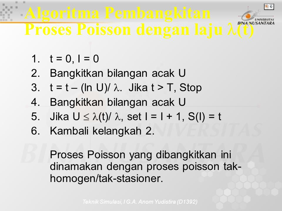 Algoritma Pembangkitan Proses Poisson dengan laju (t)