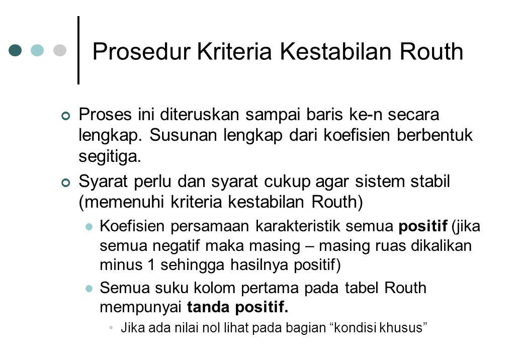 Prosedur Kriteria Kestabilan Routh