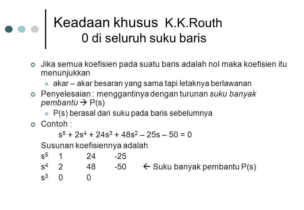 Keadaan khusus K.K.Routh 0 di seluruh suku baris