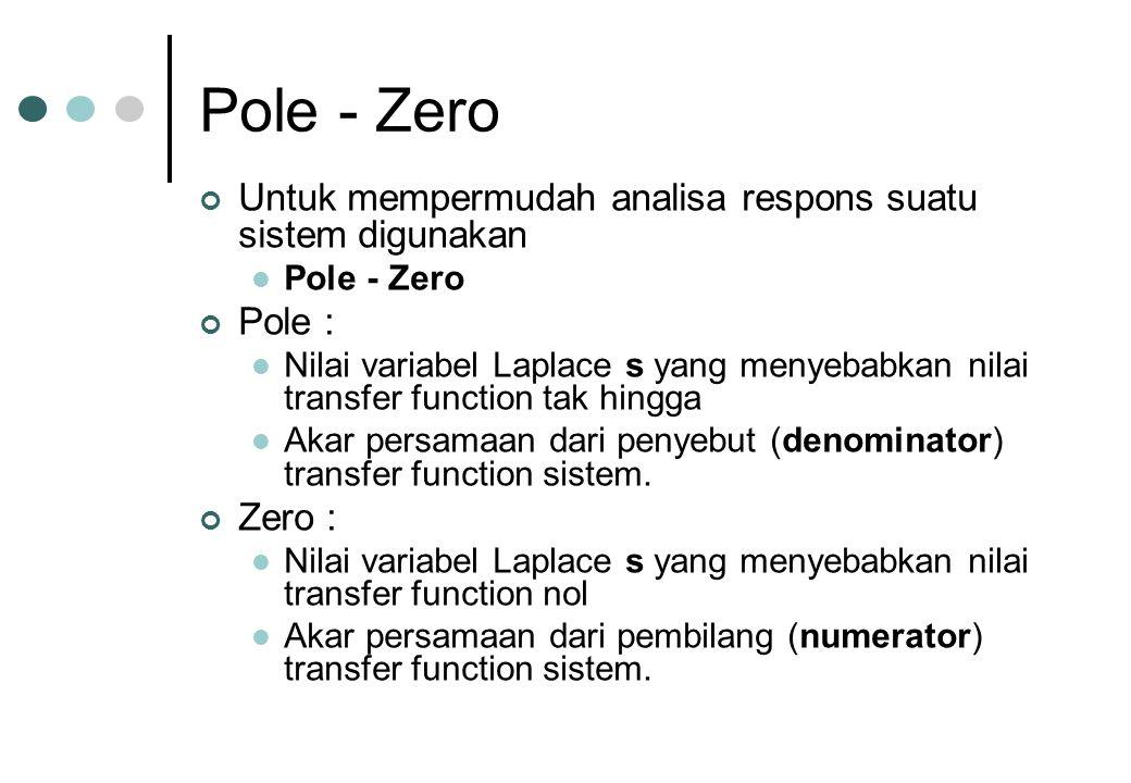 Pole - Zero Untuk mempermudah analisa respons suatu sistem digunakan
