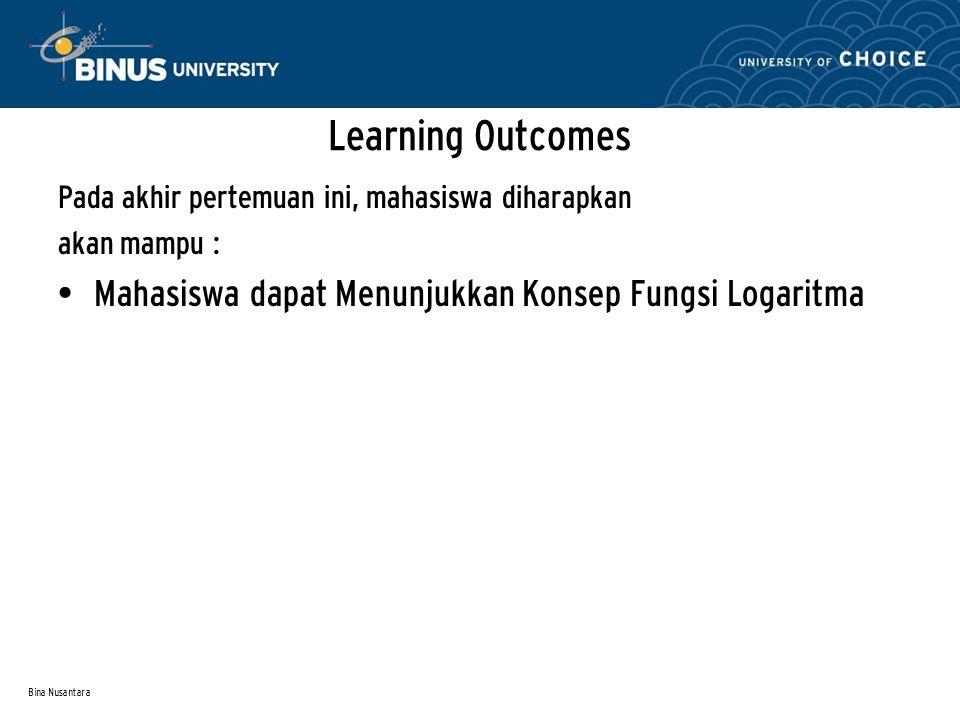 Learning Outcomes Mahasiswa dapat Menunjukkan Konsep Fungsi Logaritma