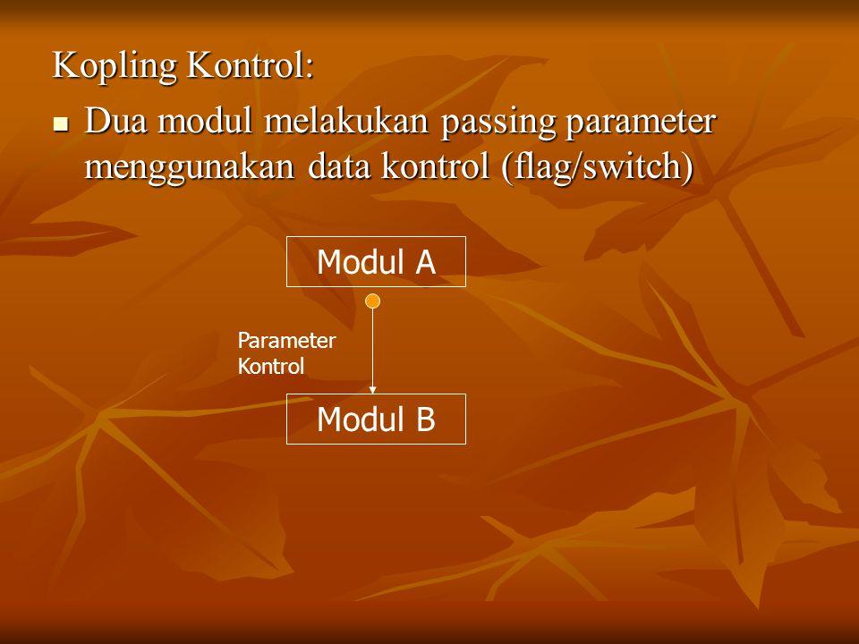 Kopling Kontrol: Dua modul melakukan passing parameter menggunakan data kontrol (flag/switch) Modul A.
