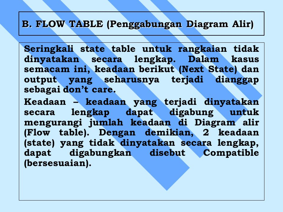 B. FLOW TABLE (Penggabungan Diagram Alir)