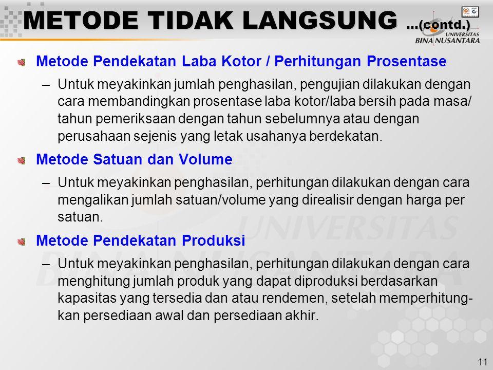 METODE TIDAK LANGSUNG …(contd.)