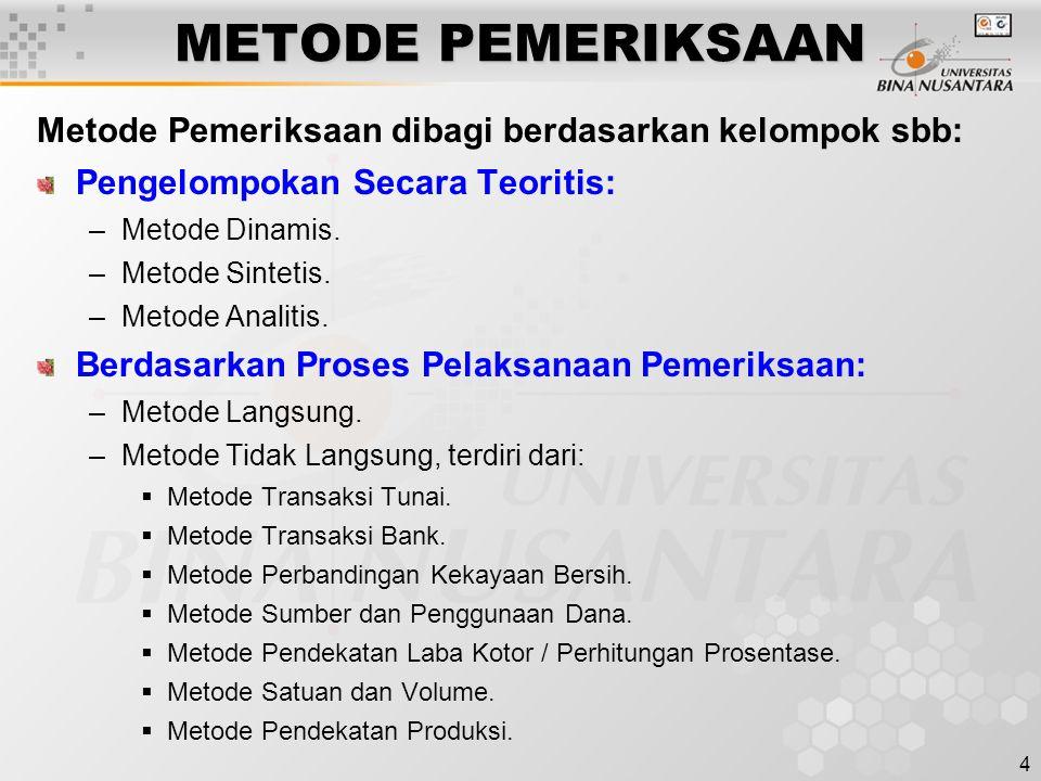 METODE PEMERIKSAAN Metode Pemeriksaan dibagi berdasarkan kelompok sbb: