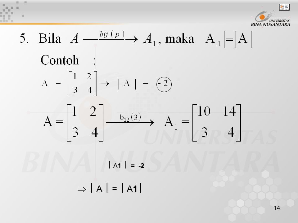  A1  = -2   A  =  A1