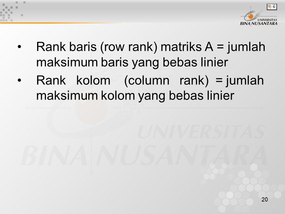 Rank baris (row rank) matriks A = jumlah maksimum baris yang bebas linier