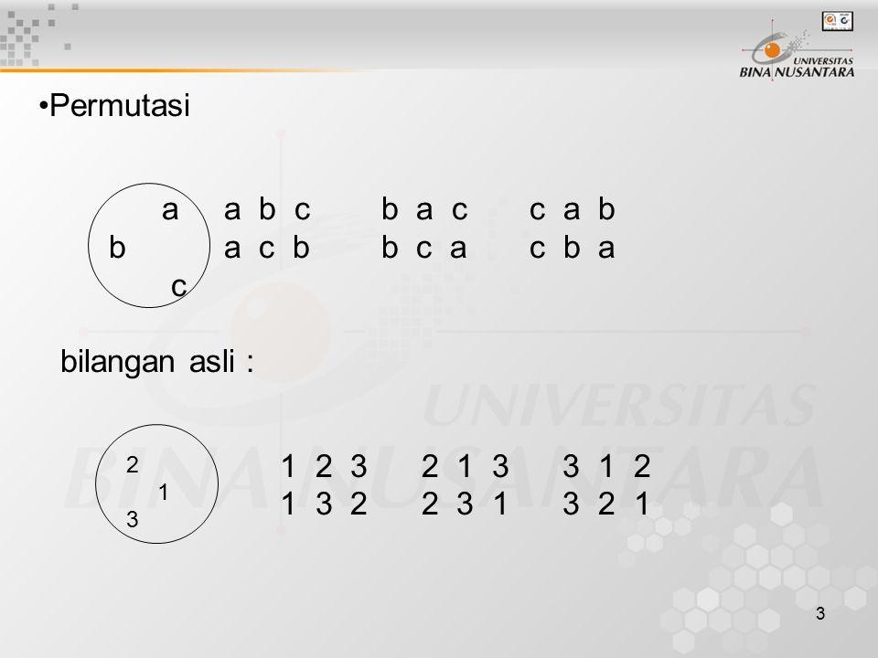 2 1 3 Permutasi a a b c b a c c a b b a c b b c a c b a c