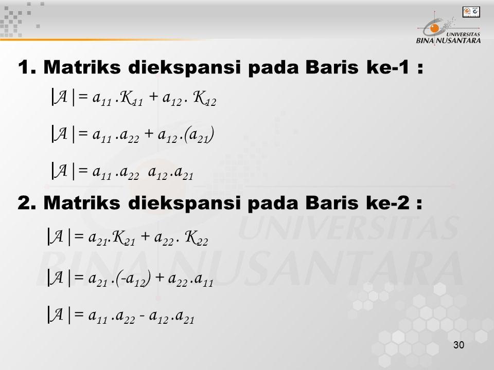1. Matriks diekspansi pada Baris ke-1 :
