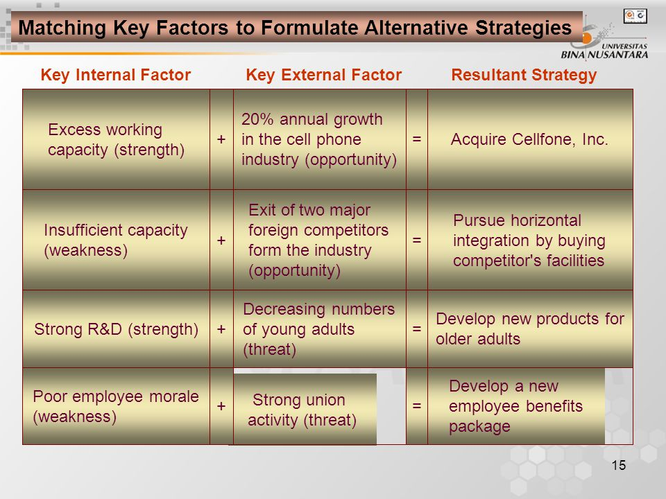 Matching Key Factors to Formulate Alternative Strategies