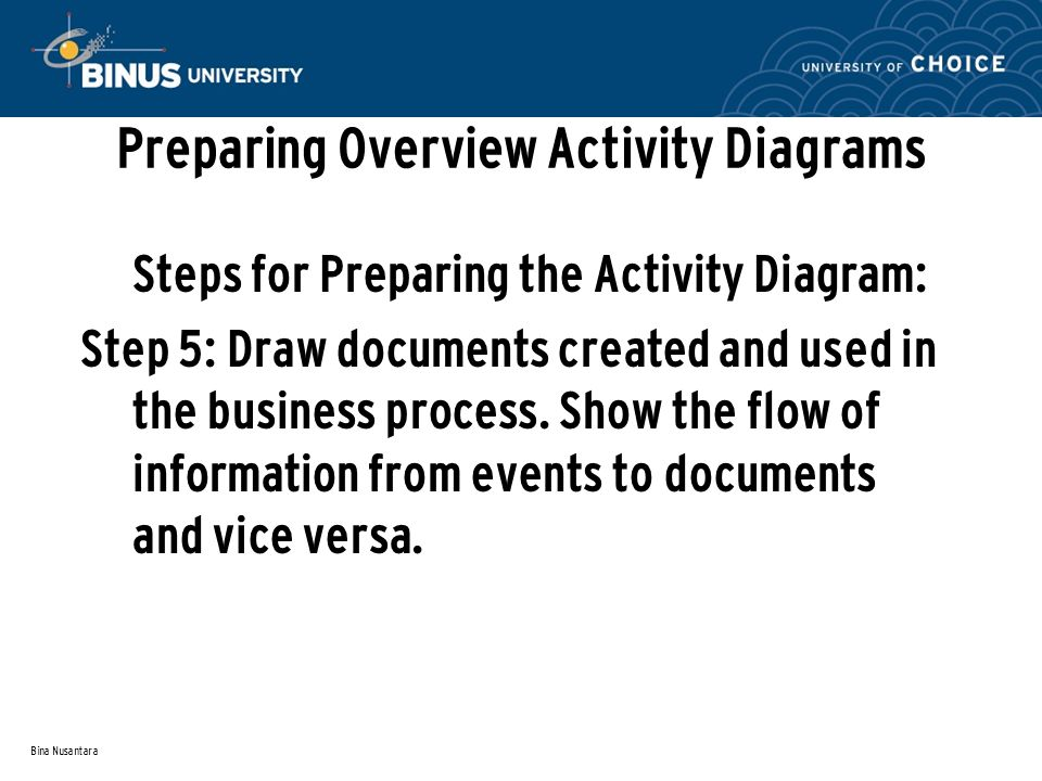Preparing Overview Activity Diagrams