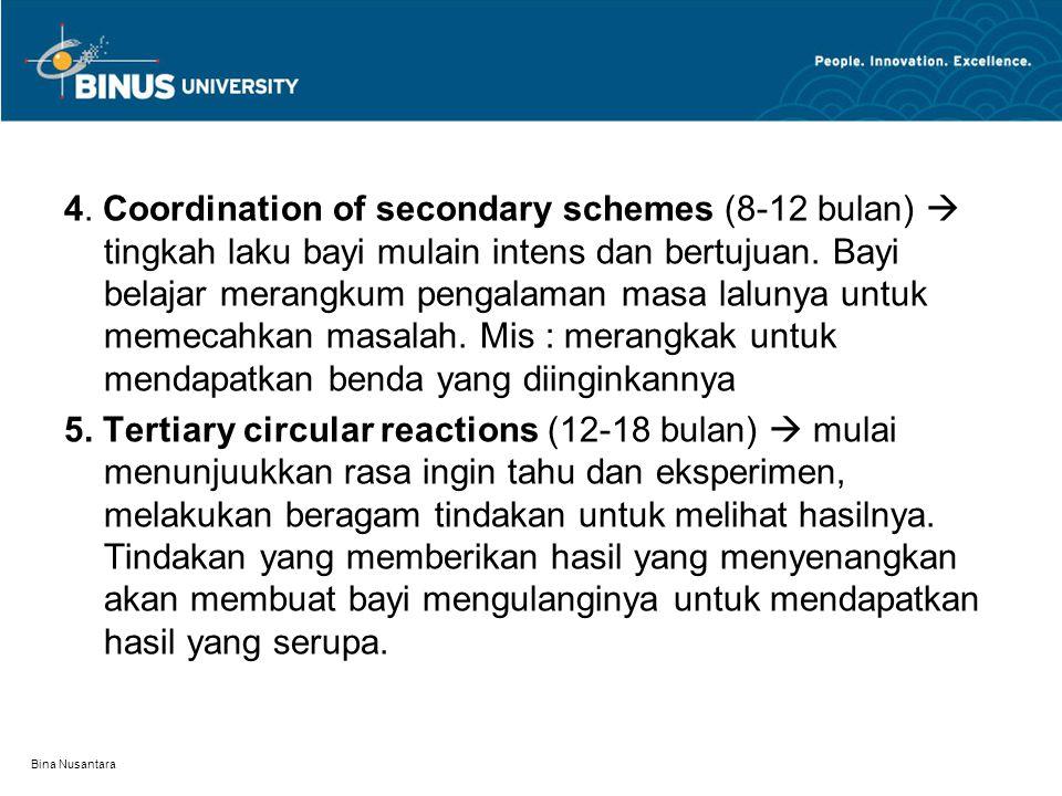 4. Coordination of secondary schemes (8-12 bulan)  tingkah laku bayi mulain intens dan bertujuan. Bayi belajar merangkum pengalaman masa lalunya untuk memecahkan masalah. Mis : merangkak untuk mendapatkan benda yang diinginkannya