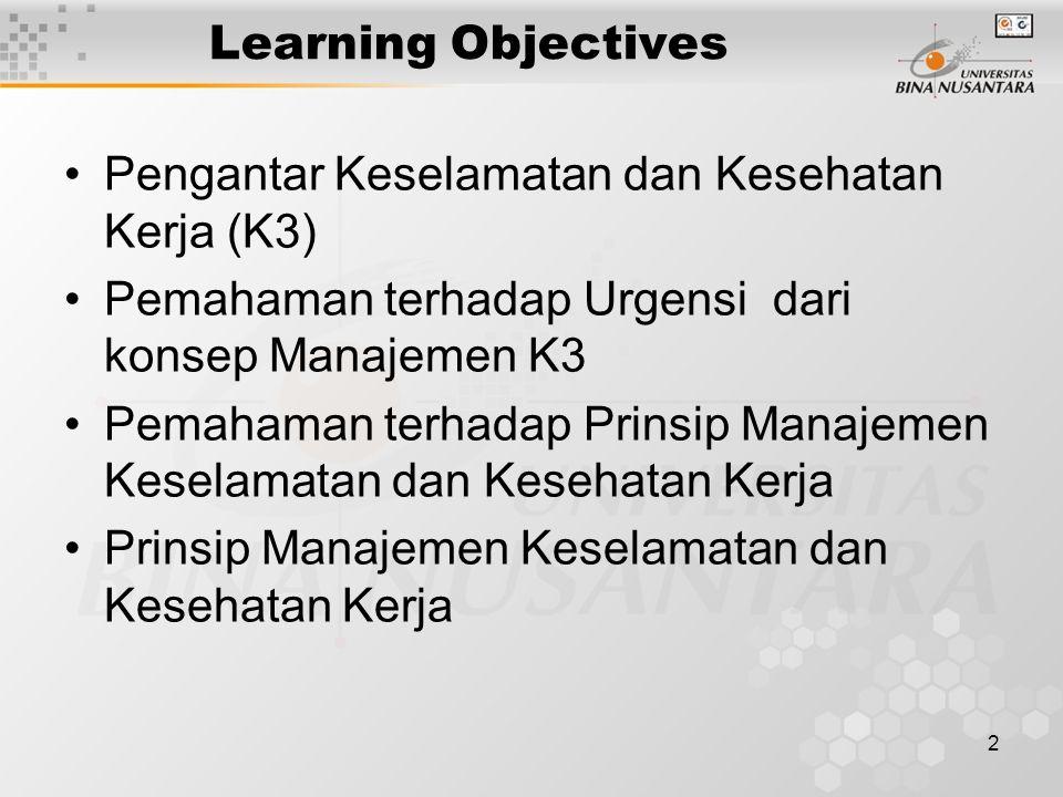 Learning Objectives Pengantar Keselamatan dan Kesehatan Kerja (K3) Pemahaman terhadap Urgensi dari konsep Manajemen K3.