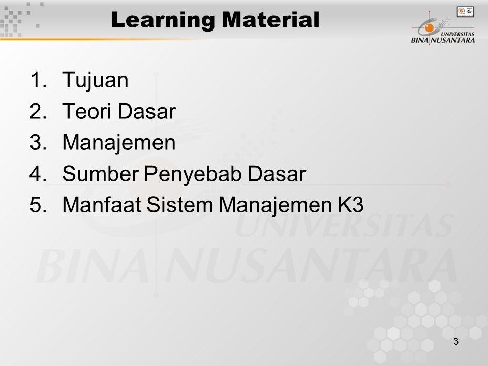 Learning Material Tujuan Teori Dasar Manajemen Sumber Penyebab Dasar Manfaat Sistem Manajemen K3