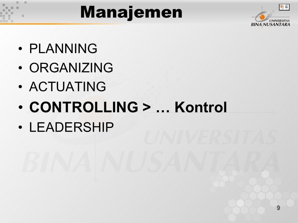 Manajemen CONTROLLING > … Kontrol PLANNING ORGANIZING ACTUATING