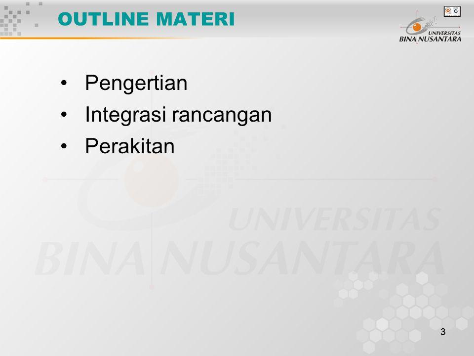 OUTLINE MATERI Pengertian Integrasi rancangan Perakitan