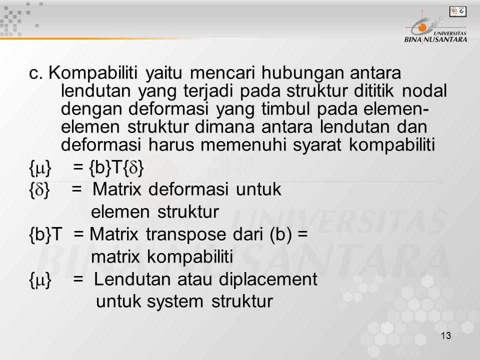 c. Kompabiliti yaitu mencari hubungan antara lendutan yang terjadi pada struktur dititik nodal dengan deformasi yang timbul pada elemen-elemen struktur dimana antara lendutan dan deformasi harus memenuhi syarat kompabiliti