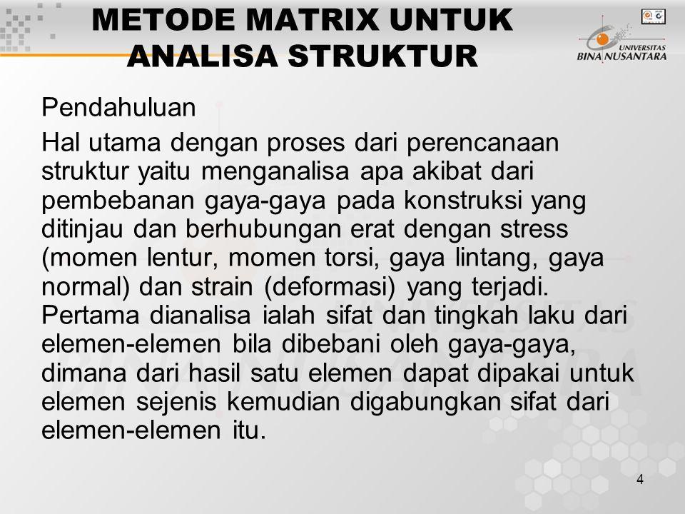 METODE MATRIX UNTUK ANALISA STRUKTUR