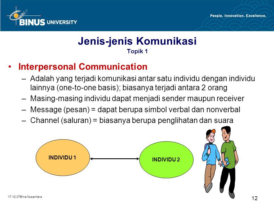 Jenis-jenis Komunikasi Topik 1