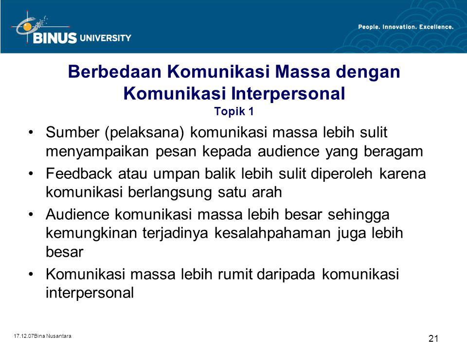 Berbedaan Komunikasi Massa dengan Komunikasi Interpersonal Topik 1