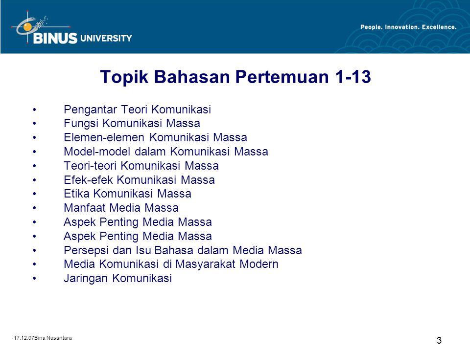 Topik Bahasan Pertemuan 1-13