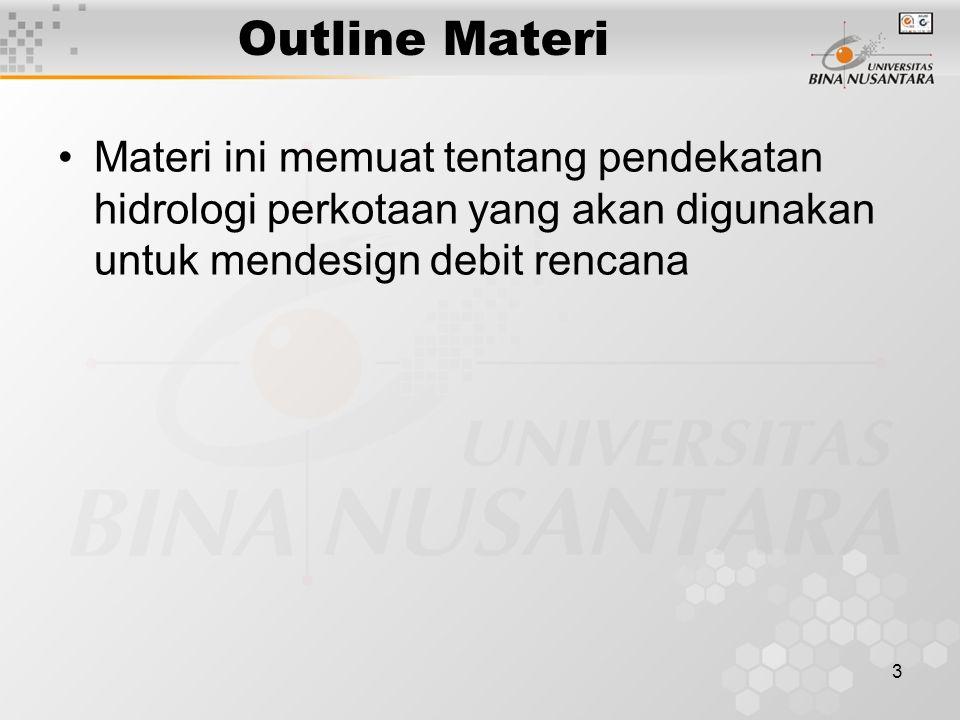 Outline Materi Materi ini memuat tentang pendekatan hidrologi perkotaan yang akan digunakan untuk mendesign debit rencana.