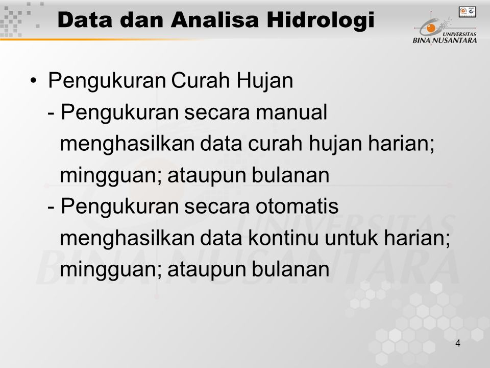 Data dan Analisa Hidrologi