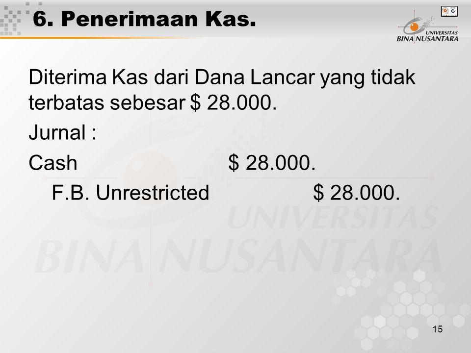 6. Penerimaan Kas. Diterima Kas dari Dana Lancar yang tidak terbatas sebesar $ 28.000. Jurnal : Cash $ 28.000.