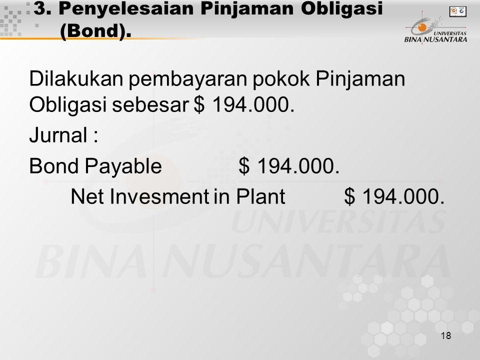 3. Penyelesaian Pinjaman Obligasi (Bond).