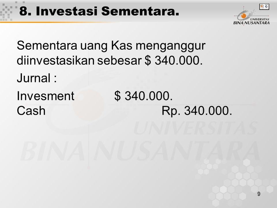 8. Investasi Sementara. Sementara uang Kas menganggur diinvestasikan sebesar $ 340.000. Jurnal :