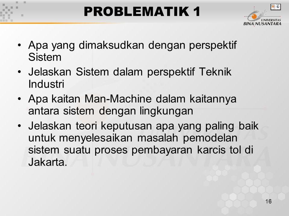 PROBLEMATIK 1 Apa yang dimaksudkan dengan perspektif Sistem
