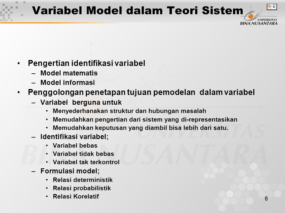 Variabel Model dalam Teori Sistem