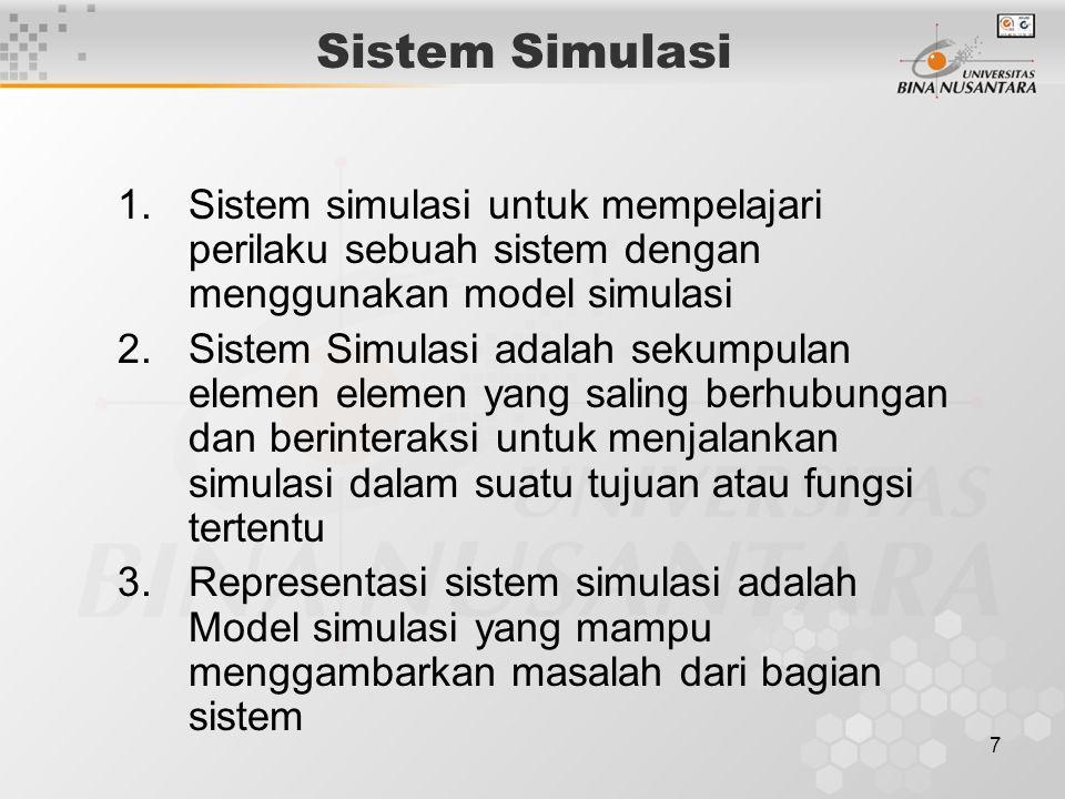 Sistem Simulasi Sistem simulasi untuk mempelajari perilaku sebuah sistem dengan menggunakan model simulasi.