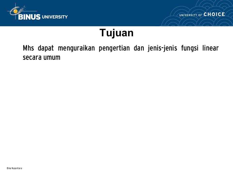 Tujuan Mhs dapat menguraikan pengertian dan jenis-jenis fungsi linear secara umum Bina Nusantara