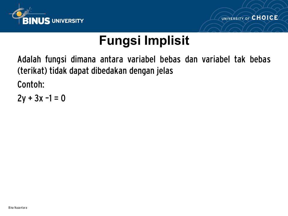 Fungsi Implisit Adalah fungsi dimana antara variabel bebas dan variabel tak bebas (terikat) tidak dapat dibedakan dengan jelas.