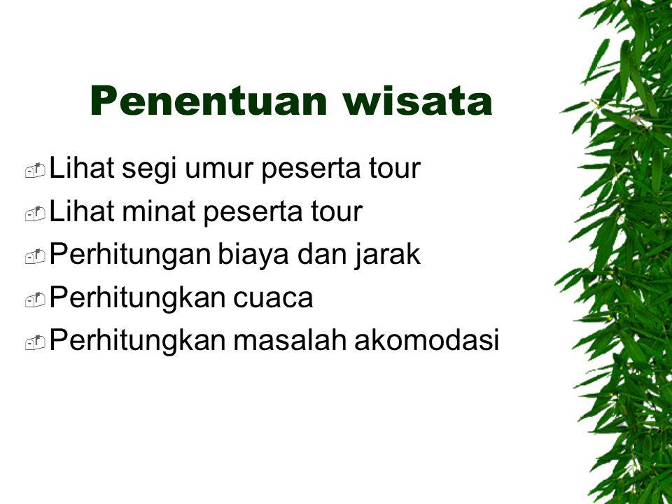 Penentuan wisata Lihat segi umur peserta tour Lihat minat peserta tour