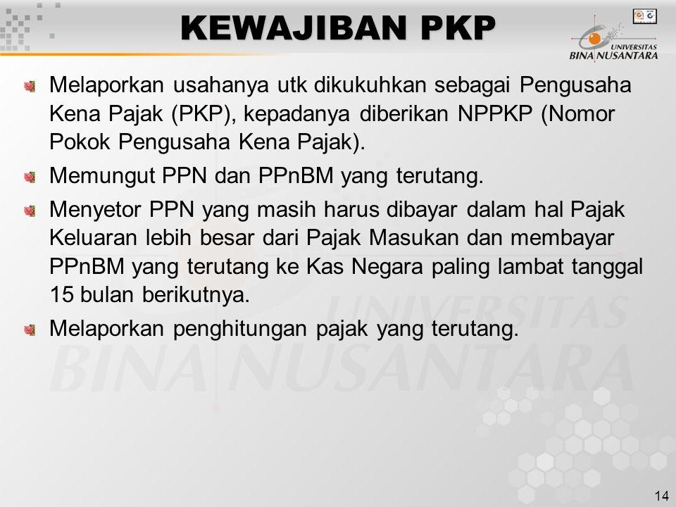 KEWAJIBAN PKP Melaporkan usahanya utk dikukuhkan sebagai Pengusaha Kena Pajak (PKP), kepadanya diberikan NPPKP (Nomor Pokok Pengusaha Kena Pajak).