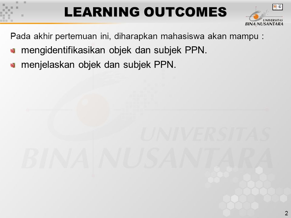 LEARNING OUTCOMES mengidentifikasikan objek dan subjek PPN.