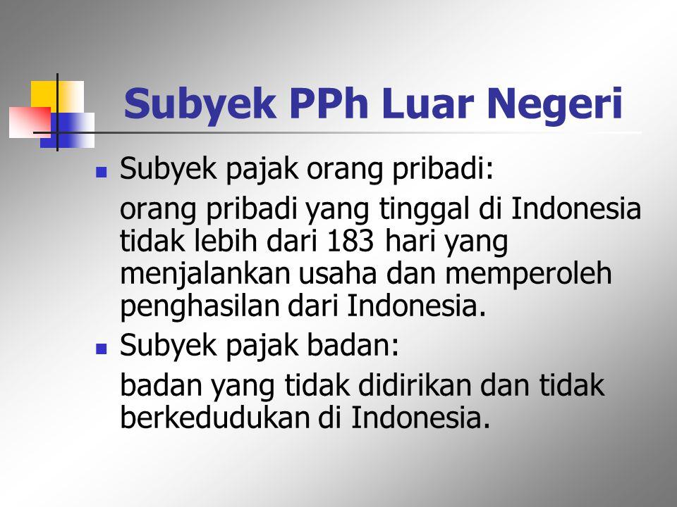 Subyek PPh Luar Negeri Subyek pajak orang pribadi: