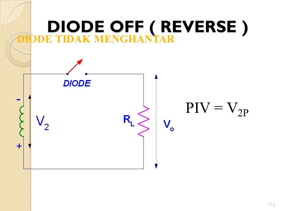 DIODE OFF ( REVERSE ) DIODE TIDAK MENGHANTAR PIV = V2P