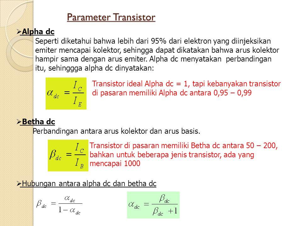 Parameter Transistor Alpha dc