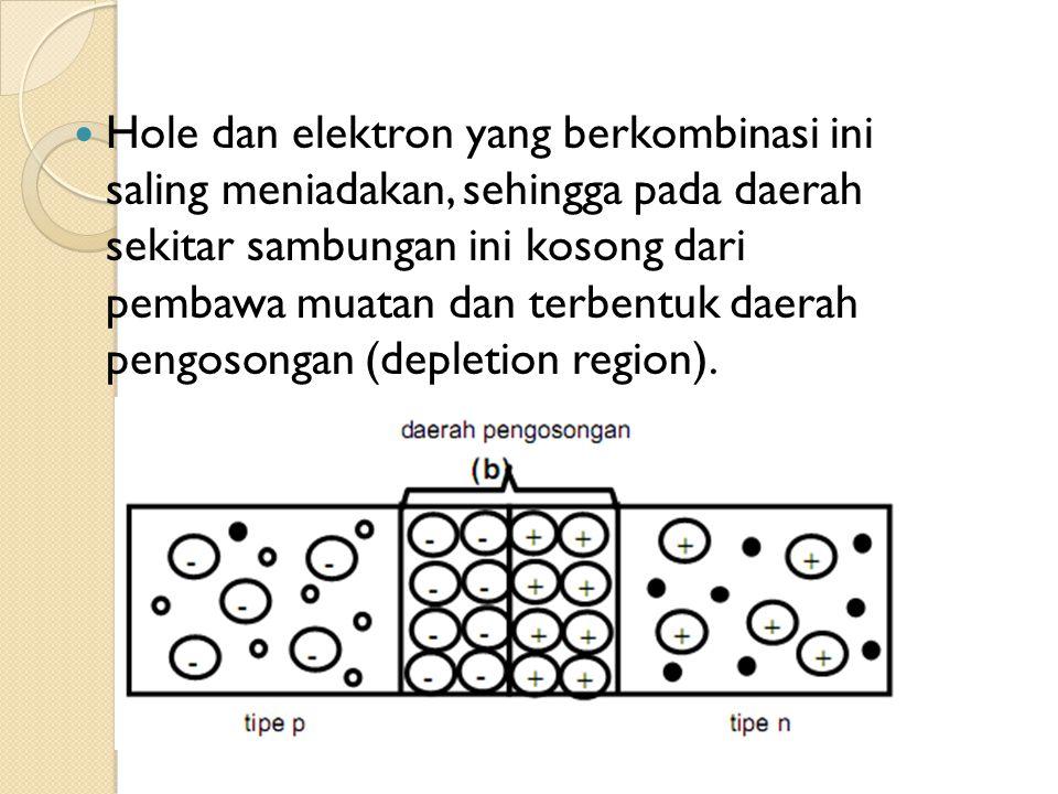 Hole dan elektron yang berkombinasi ini saling meniadakan, sehingga pada daerah sekitar sambungan ini kosong dari pembawa muatan dan terbentuk daerah pengosongan (depletion region).