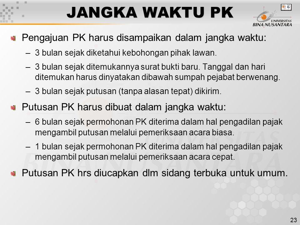 JANGKA WAKTU PK Pengajuan PK harus disampaikan dalam jangka waktu: